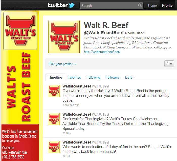 Walt's Roast Beef on Twitter